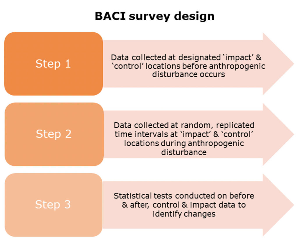 Schematic representation of process behind BACI survey design. © OSC (2020)